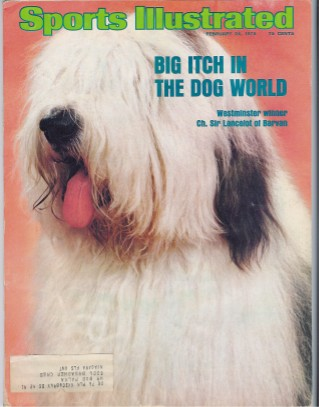 Cover of the February twenty fourth  1975 issue of Sports Illustrated magazine. The cover shows a very hairy Old English Sheepdog with its tongue hanging way out. The cover reads Big Itch in the Dog World, Westminster winner Champion Sir Lancelot of Barvan