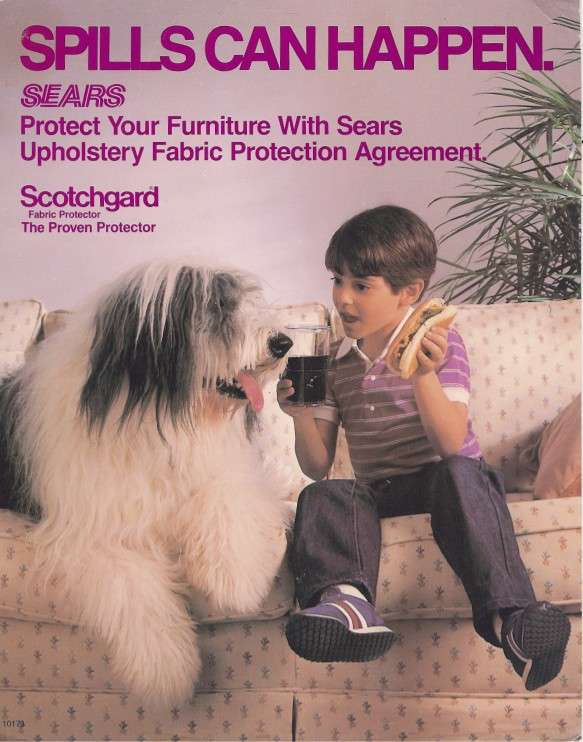 A Sears, Roebuck advertisement showing an Old English Sheepdog lying on a couch, next to a boy sitting with a drippy hot dog and a soda. The ad is titled Spills Can Happen. The ad is for Scotchgard Fabric Protection Service by Sears.
